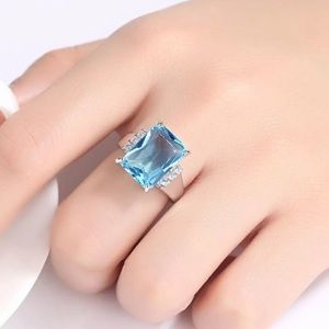 6.35CT Blue Aquamarine Ring - 925 Sterling Silver